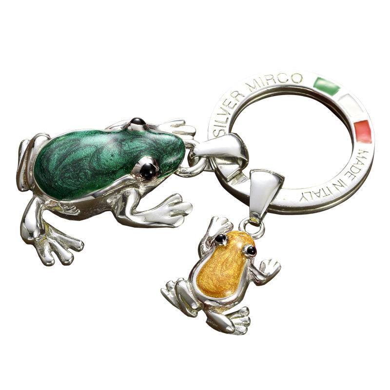 Silver Mirco シルバー ミルコ イタリア製七宝キーリング ラッキーチャーム br-sm00  親子カエル