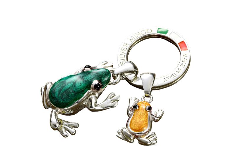 Silver Mirco シルバー ミルコ イタリア製七宝キーリング ラッキーチャーム 親子カエル br-sm00