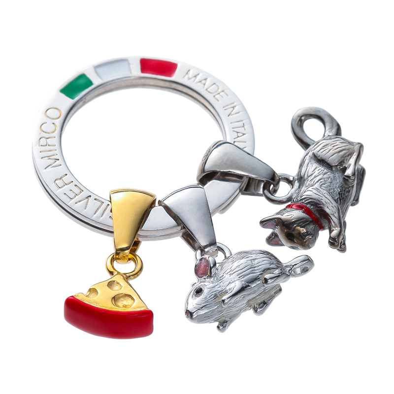 Silver Mirco シルバー ミルコ イタリア製七宝キーリング ラッキーチャーム br-sm000  ネズミとネコのレース 想像が膨らむ愛らしいチャーム