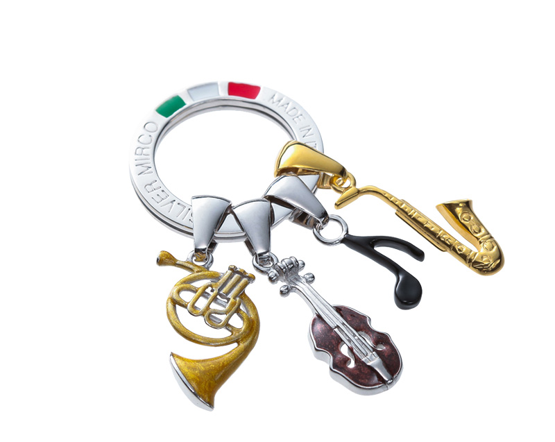Silver Mirco シルバー ミルコ イタリア製七宝キーリング ラッキーチャーム ミュージック br-sm0002