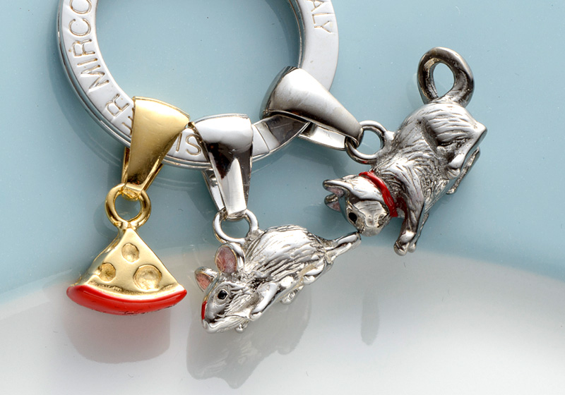 Silver Mirco シルバー ミルコ イタリア製七宝キーリング ラッキーチャーム ネズミとネコのレース br-sm0003