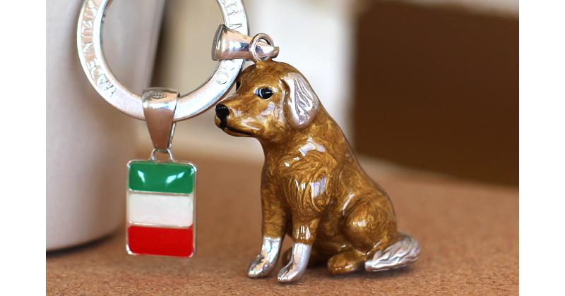 Silver Mirco シルバー ミルコ イタリア製七宝キーリング ラッキーチャーム イヌとイタリアンフラッグ br-sm0005