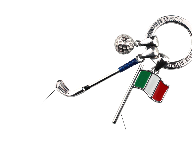 イタリア製 七宝キーリング・ゴルフ < イタリア 製 > br-sm0006 ゴルフクラブ:メタリックカラーでコーチィングし、一部エナメルで装飾しました。 ゴルフボール:ボールはロジウムコーティングを施し、また窪みまで再現しました。イタリアンフラッグ:風になびくピンフラッグ風に国旗をつくりました。エナメルで装飾しています。