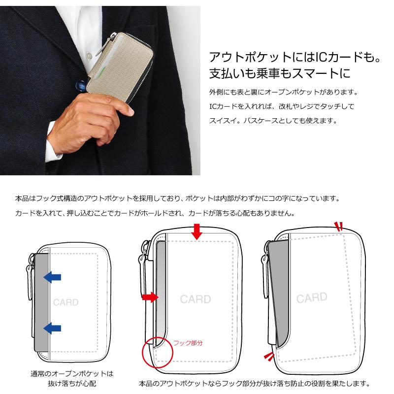 Milagro  パンチングレザー ラウンドファスナー多機能キーケース bt-ke09 アウトポケットにはICカードも。支払いも乗車もスマートに 外側にも表と裏にオープンポケットがあります。ICカードを入れれば、改札やレジでタッチしてスイスイ。パスケースとしても使えます。 本品はフック式構造のアウトポケットを採用しており、ポケットは内部がわずかにコの字になっています。カードを入れて、押し込むことでカードがホールドされ、カードが落ちる心配もありません。 通常のオープンポケットは抜け落ちが心配  本品のアウトポケットならフック部分が抜け落ち防止の役割を果たします。