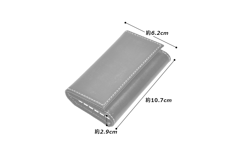 Milagro(ミラグロ)カラフル ブライドルレザー キーケース bt-ke12 素材 牛革(英国製ブライドルレザー) サイズと重さ(約) 縦:10.7cm × 横:6.2cm × マチ:2.9cm 開いた状態:1.9cm / 65g 仕様 外側:オープンポケット×1 内側:5連キーケース、オープンポケット×3 カラー 6色(ブラック、バーガンディ、ネイビー、グリーン、レッド、キャメル)