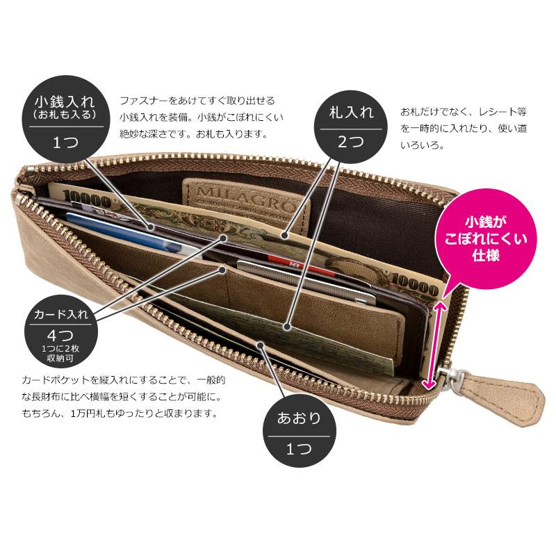 Milagro(ミラグロ) 駱駝革(ラクダ革) L字ファスナーロングウォレット ca-c-577 長財布でありながら、厚みとサイズを抑えたコンパクトさも特長。長財布はバッグの中でかさばるからと敬遠していた方にもおすすめです。ヒップポケットにいれた際、ポケットから財布がずり落ちにくいサイズです。ファスナーをあけてすぐ取り出せる小銭入れを装備。小銭がこぼれにくい絶妙な深さです。お札も入ります。札入れは2箇所あり、お札だけでなく、レシート等を一時的に入れたり、使い道いろいろ。4つあるカード入れには、1つに2枚収納出来ます。カードポケットを縦入れにすることで、一般的な長財布に比べ横幅を短くすることが可能に。もちろん、1万円札もゆったりと収まります。