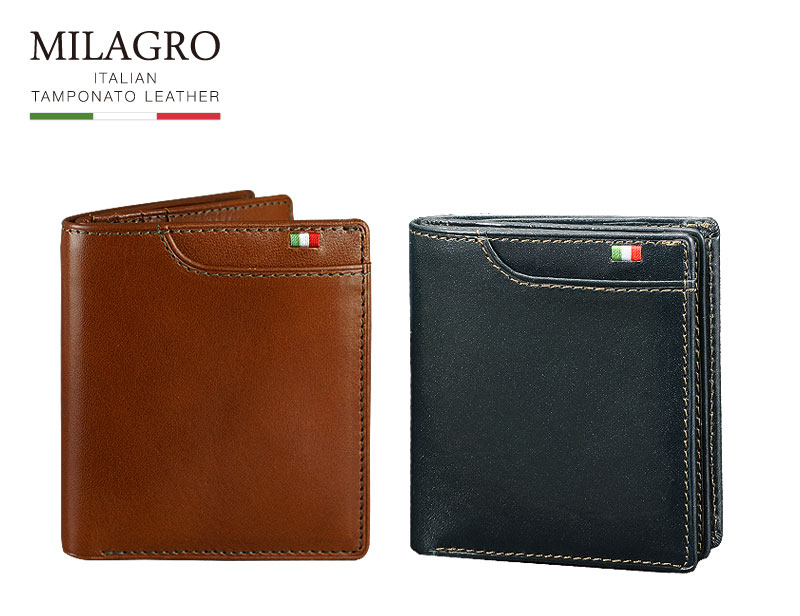 Milagro(ミラグロ)イタリアンレザー マネースルーウォレット ca-s-557  小銭を探しながら紙幣も引き出せる二つ折り財布。