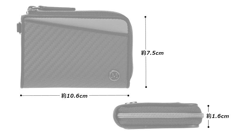 Milagro(ミラグロ) リアルカーボンF・ネックウォレット ea-mi-018 サイズ