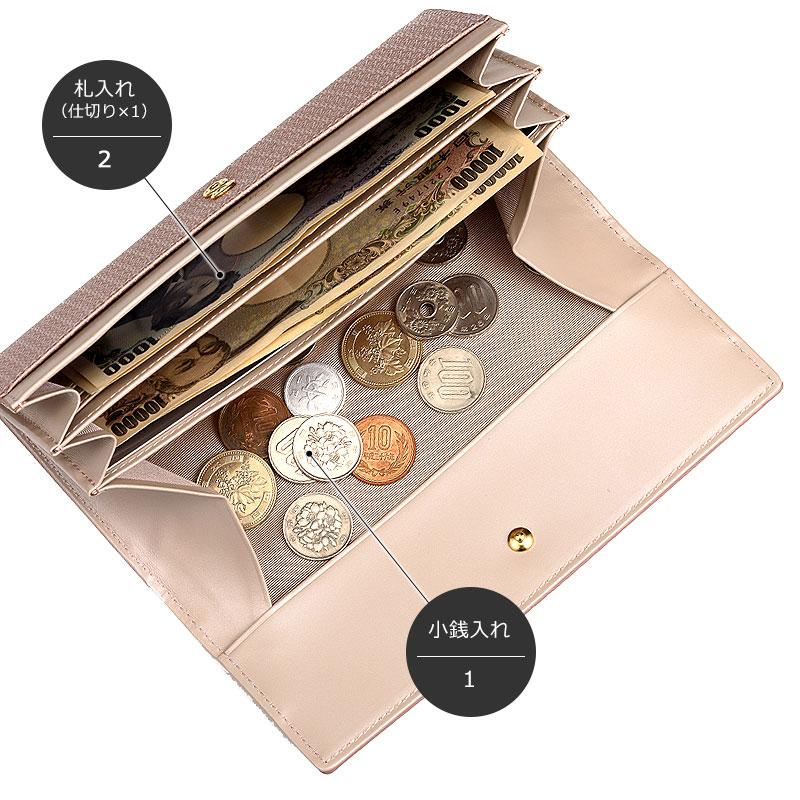 Rinto(リント) ギャルソン 長財布 ea-ri002 札入れ(仕切り×1)2 小銭入れ1 ひと目で小銭が見渡せて支払いもスムーズです。