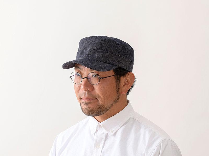 井上帽子 越後片貝木綿・デニムワークキャップ in-ed-h019