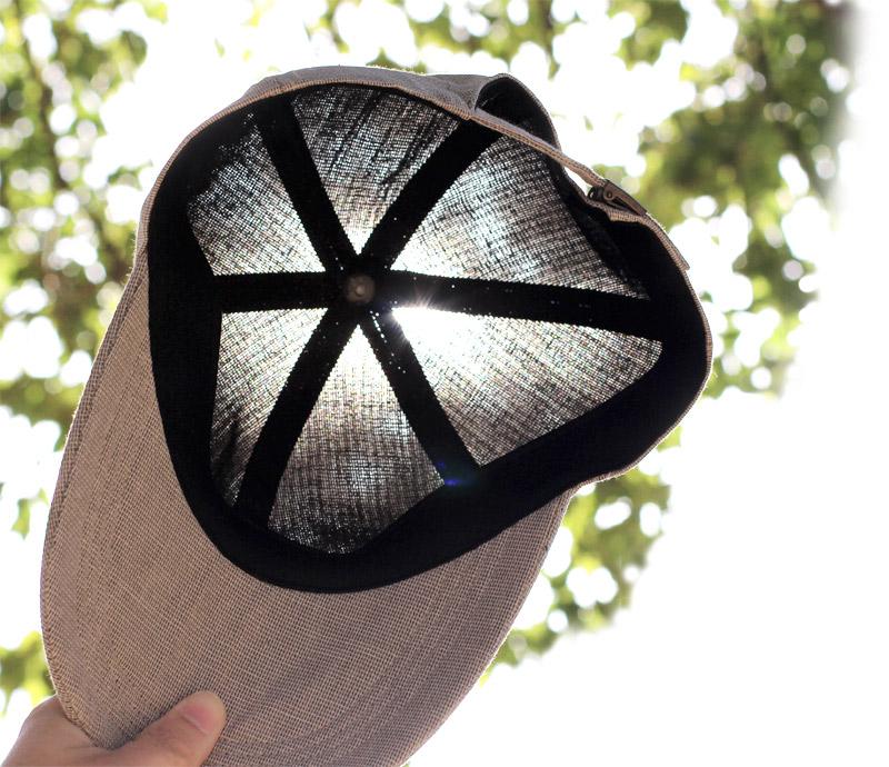 井上帽子 in-hk004 柿渋染め 折りたたみキャップ 日本製 メッシュ感のある麻素材で、太陽に<br>透かすとほんのり奥が見えるほど。