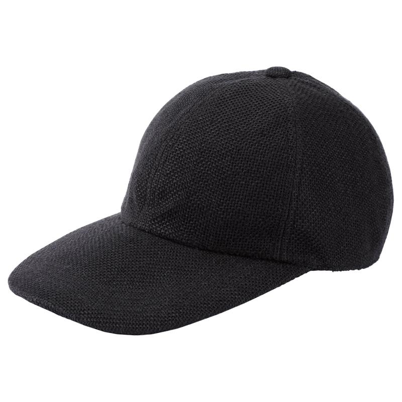 井上帽子 in-hli002 折りたためる麻のキャップ 日本製  ブラック