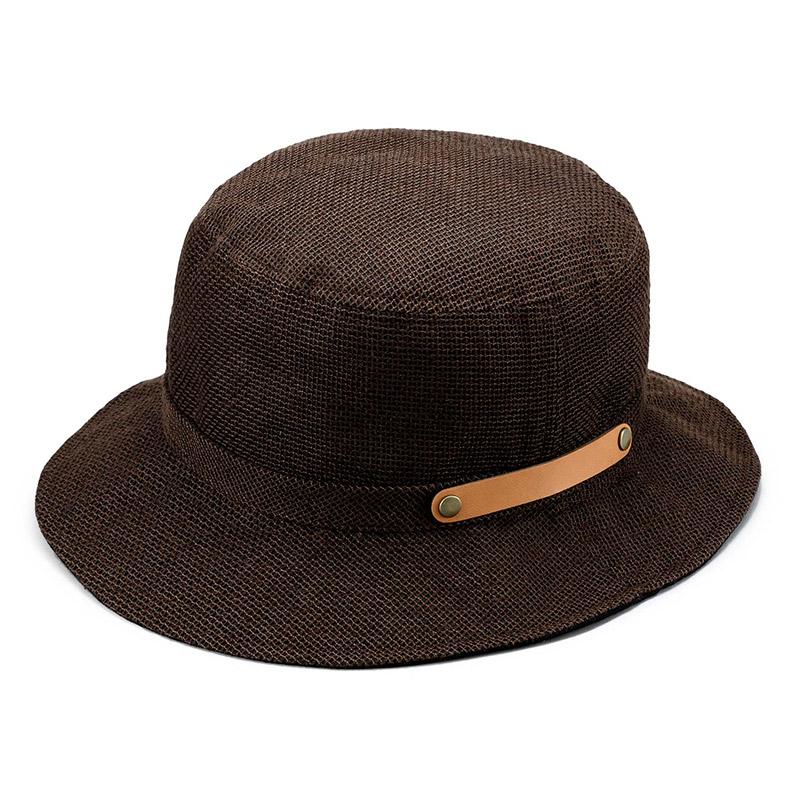 井上帽子 in-hli011 折りたためる麻×メッシュハット 日本製 ブラウン