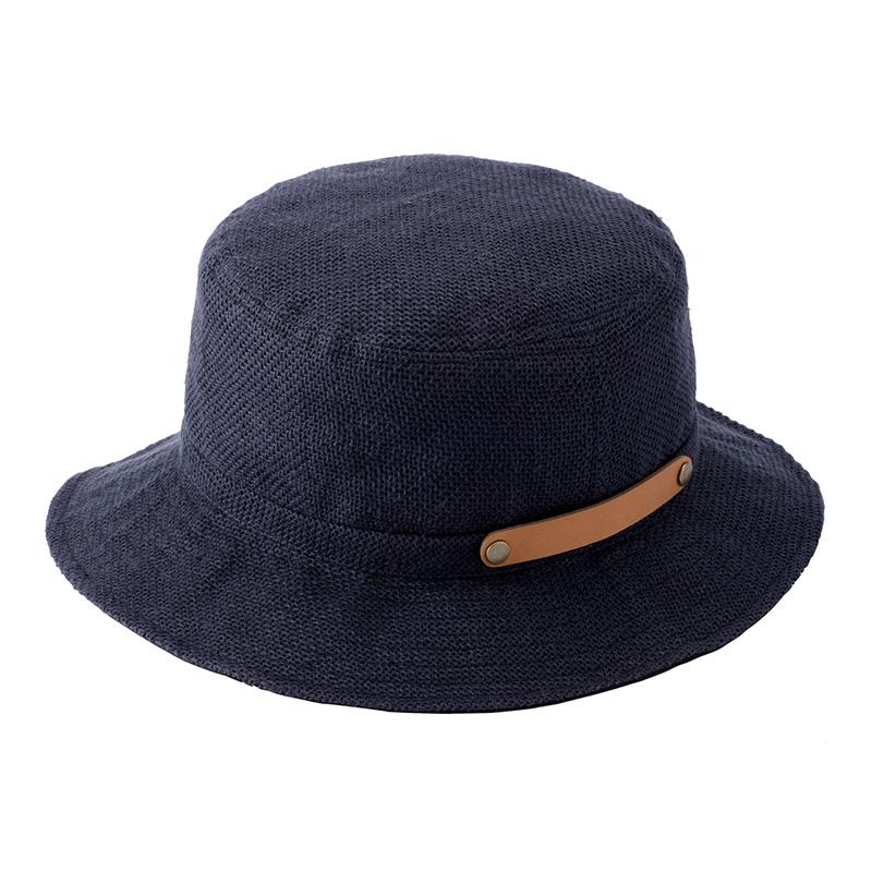 井上帽子 in-hli011 折りたためる麻×メッシュハット 日本製 ネイビー