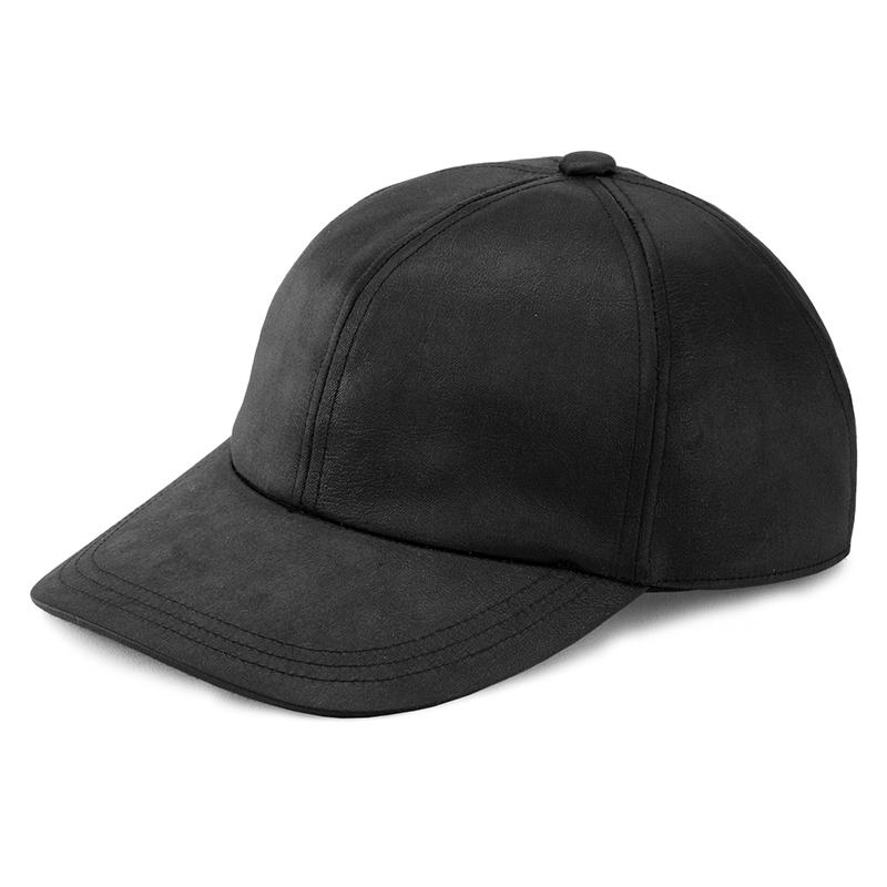 井上帽子 in-hku005レザー調キャップ 日本製  ブラック