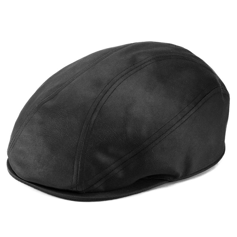井上帽子 in-hpu008 レザー調ハンチング  ブラック