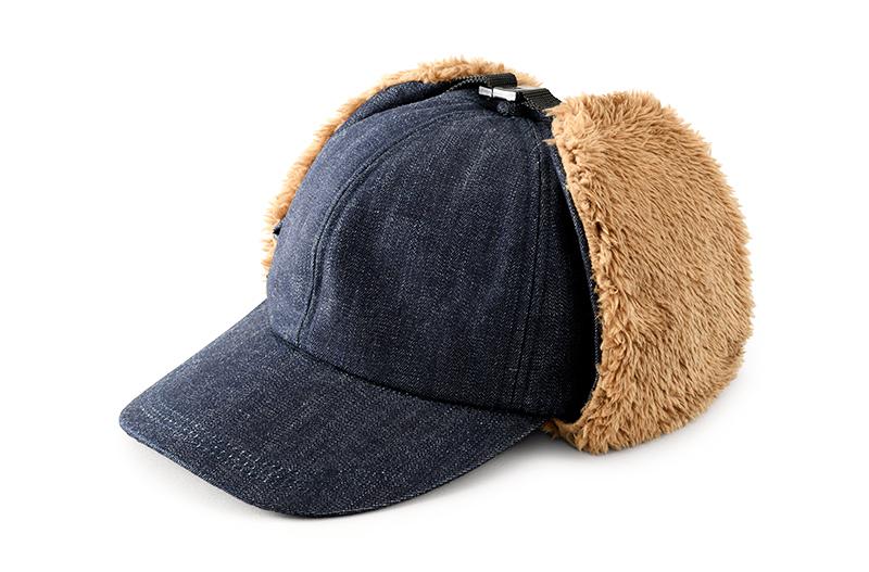 井上帽子 in-od-h009 岡山デニム ボア付キャップ ファッション性と防寒性を兼ね備えたデニムキャップ