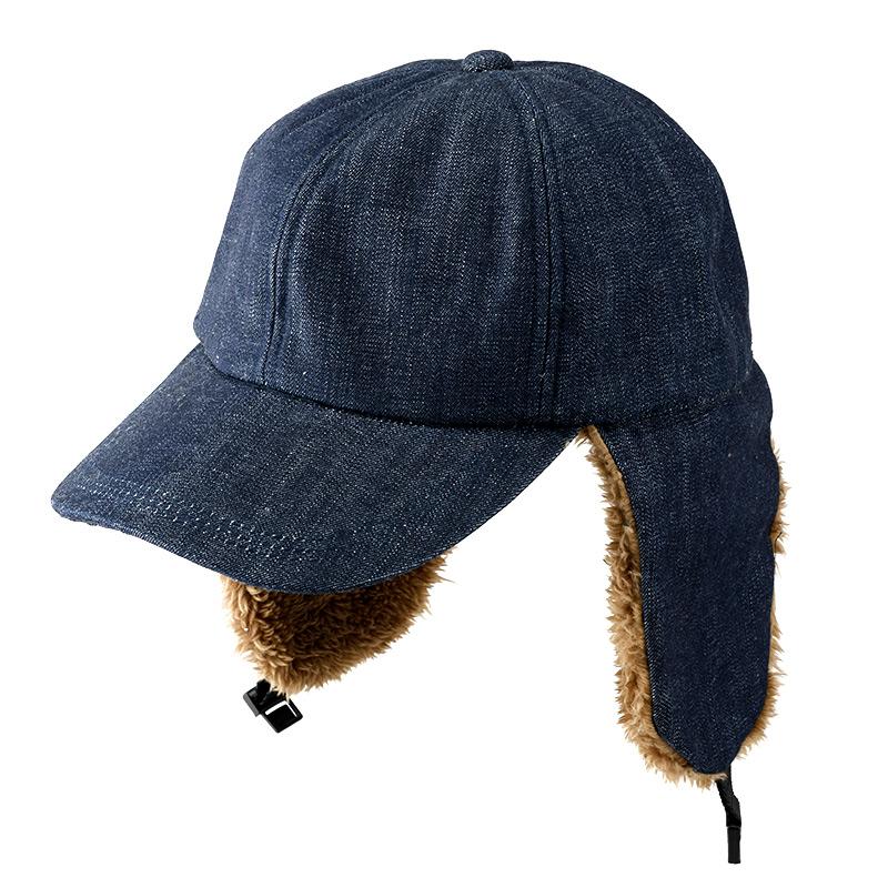 井上帽子 in-od-h009 岡山デニム ボア付キャップ ファッション性と防寒性を兼ね備えたハイブリット帽子