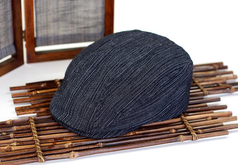 井上帽子 阿波しじら織のハンチング in-si-h013