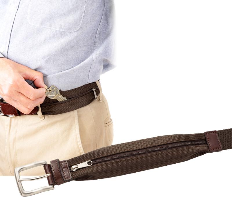 Milagro ミラグロ 収納ポケット付きストレッチベルト mlb-170805  小物が入る便利なポケット付き ベルトの前方にはファスナー式収納ポケットを装備。小銭や小物類などを収納して持ち歩けます。前面についているため収納物の取り出しも容易です。カラーもベルト本体の色に合わせているため目立ちません。お散歩や、アウトドア、ゴルフや釣りなどカジュアルシーンだけでなく、ビジネス用として出張の際にも活躍するオン/オフ対応です。