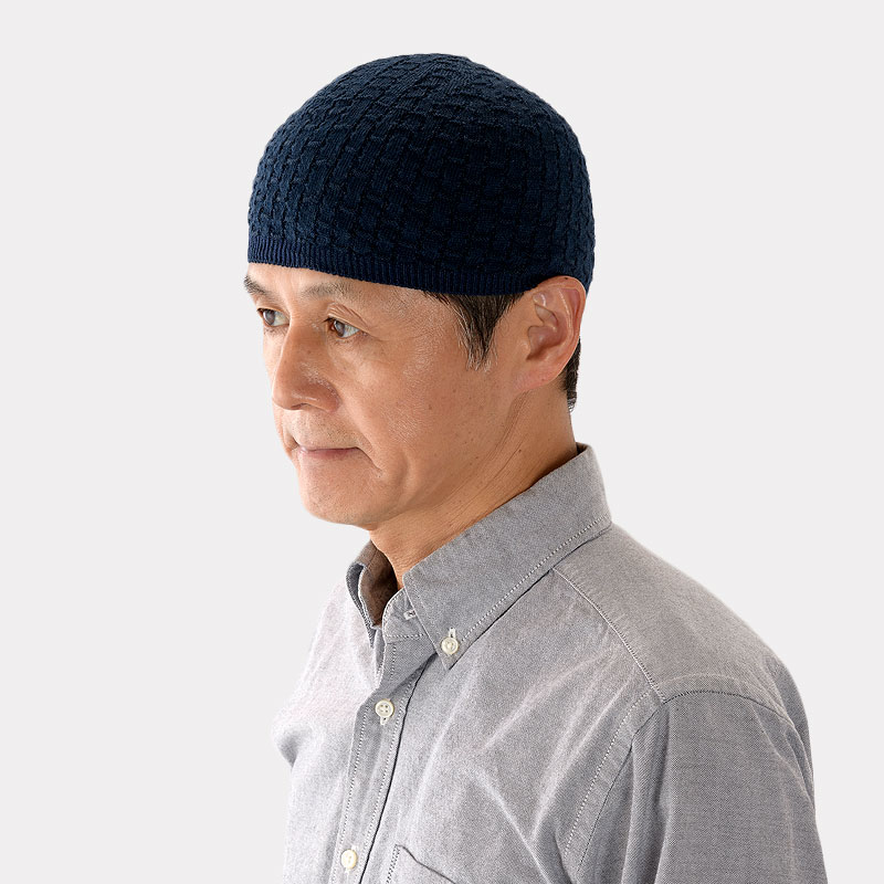 市松模様の浅かぶりニット帽 mm-ri-kds03
