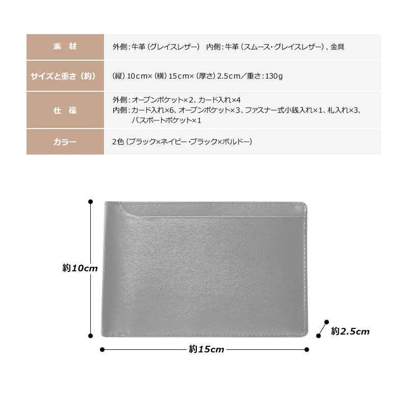 素材 外側:牛革(グレイスレザー) 内側:牛革(スムース・グレイスレザー)、金具 サイズと重さ(約)(縦)10cm×(横)15cm×(厚さ)2.5cm/重さ:130g 仕様 外側:オープンポケット×2、カード入れ×4内側:カード入れ×6、オープンポケット×3、ファスナー式小銭入れ×1、札入れ×3、パスポートポケット×1 カラー 2色(ブラック×ネイビー・ブラック×ボルドー)