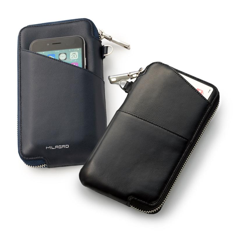 ミラグロ oh-bp054 ヤンピ革(羊革) マルチウォレット スマホ、パスポート、通帳なども入る機能派財布 通常の長財布と違って、様々な使い方が出来るミドルサイズの財布です。内部は仕切り付き。外側にはICカードが入るアウトポケット付き。表裏に自由に使えるオープンポケットも付いているので機能性も抜群です。