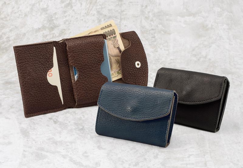 池之端銀革店 ot-c004 姫路産シュリンクレザー ミニマムウォレット これ1つで、カードもお札も小銭もOKな小さい財布