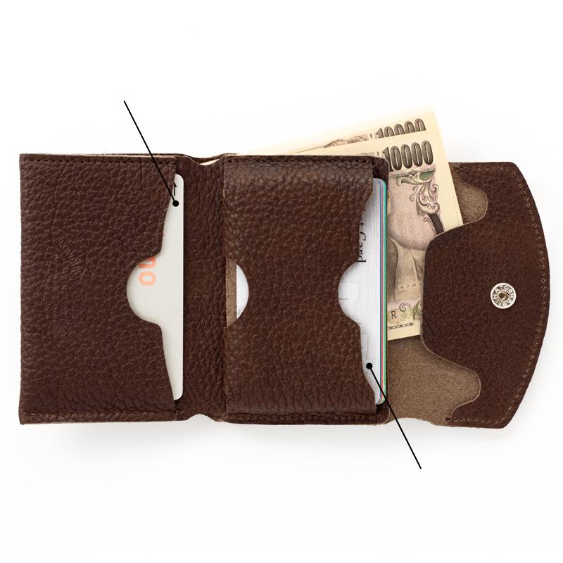 池之端銀革店 ot-c004 姫路産シュリンクレザーミニマムウォレットカードを重ねて収納する新しい発想メインのカードは下段のポケットに。ICカードや定期券など使用頻度の高いカードの収納に便利です。上段のポケットにはマチありのポケットでカードは重ねて約5枚のカードが収納可能です。この合理的な発想が使いやすさを実現しています。