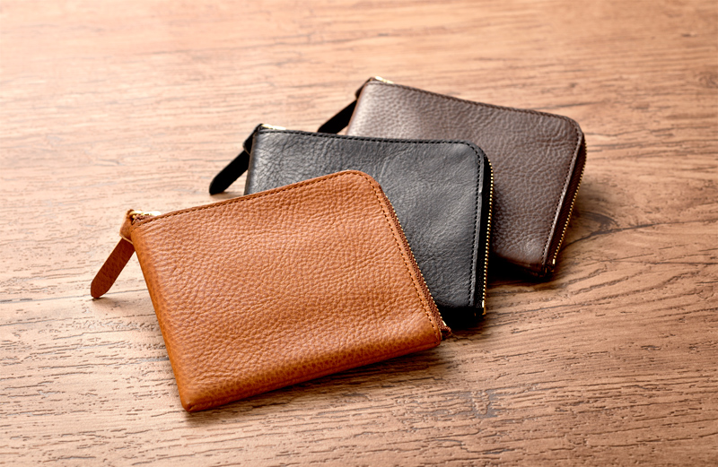 池之端銀革店 ot-wl007 イタリアンシュリンクレザー L字ファスナー長財布   ちょっとした外出にも気軽に使えるアイデア満載の長財布。