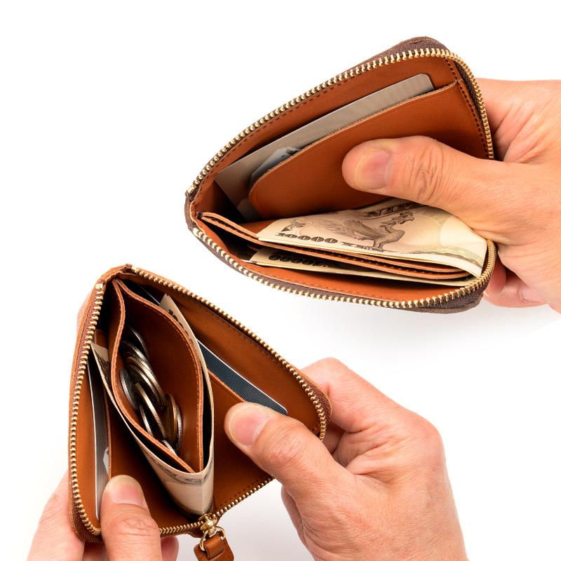 """池之端銀革店 ミネルバボックス L字ファスナー財布 ot-wl007  使うことで実感する""""想像以上の収納力と利便性"""" 小銭入れはカードポケット兼用。ファスナーを閉めれば逆さにしても小銭がこぼれない高さに設計。さらに底部分を敢えて縫い、底上げすることで、小銭が取り出しやすいだけでなく、カードを入れてもぴったりと収まる作りになっています。"""