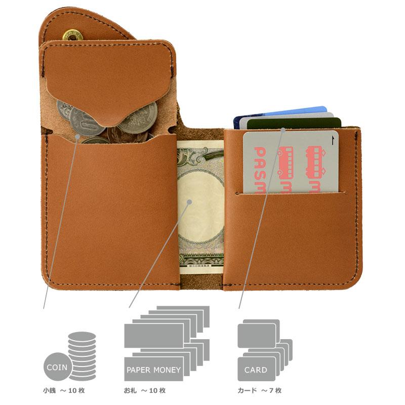 """池之端銀革店 ミネルバボックス フラップウォレット 使うことで実感する""""想像以上の収納力と利便性"""" 小銭を入れる出口部分に、小銭をキャッチしてくれる切り返しポケットがついており、小銭を落とす心配なく探せます。また、小銭入れをめくるとお札を収納するスペースが現れるので、さっと出し入れができます。カードポケットはよく使うカードを1枚用のスペースへ。その他にも5〜6枚カードをまとめて収納できるポケットがあるので、カードも十分持ち歩けます。一見シンプルでコンパクトな財布ですが、使いやすさも考慮した「メイドインジャパン」ならではの気の利いた財布です。"""