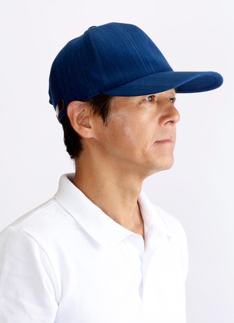 ORIHARA STYLE 小島屋 武州正藍染 キャップ ra-or-h006 幅広い年代に支持される大人のベースボールキャップ 武州正藍染めのインディゴ染め生地で作った「大人のカジュアルキャップ」です。縦目の「青縞」とダークブラウンの本牛革ベルトがポイントになっています。