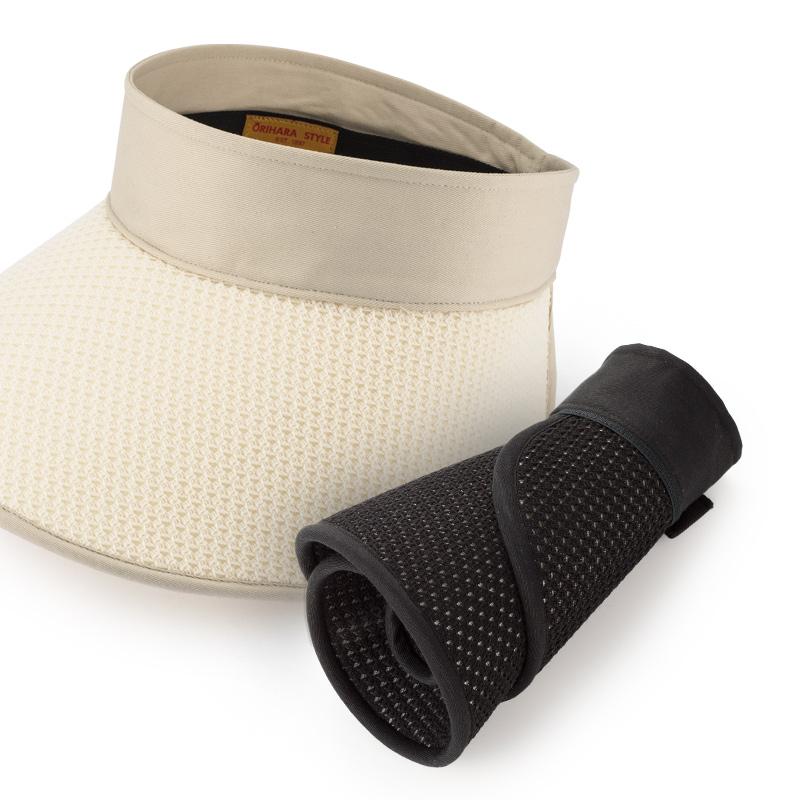 ORIHARA STYLE 折りたたみ式 軽量UVサンバイザー ra-or-h010持ち運びにも便利で、旅行やショッピングに最適!くるくると巻き、折りたたんでコンパクトにゴム留めすれば、持ち運びにも便利なサイズに早変わり。お散歩やショッピングなどの普段使いにも、大きな帽子が荷物になる旅行やゴルフなどにも最適です。