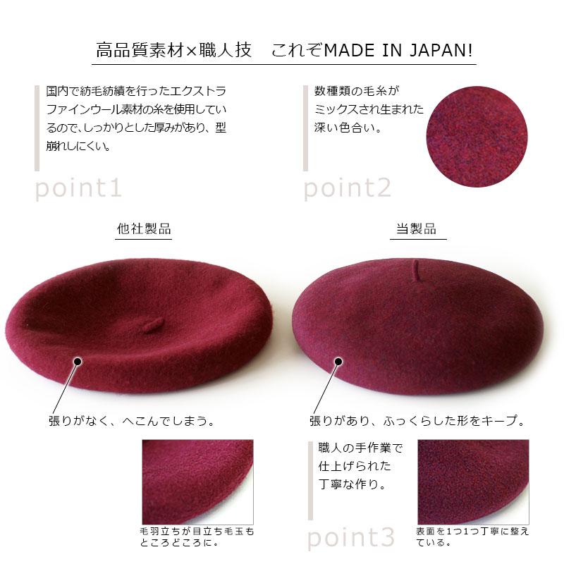よこい(ヨコイ)ウールビックベレー yo-br001 高品質素材×職人技 これぞMADE IN JAPAN!point1国内で紡毛紡績を行ったエクストラファインウール素材の糸を使用しているので、しっかりとした厚みがあり、型崩れしにくい。point2数種類の毛糸がミックスされ生まれた深い色合い。point2職人の手作業で仕上げられた丁寧な作り。